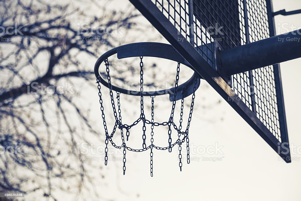 Basket made of chains for basketball playing stock photo