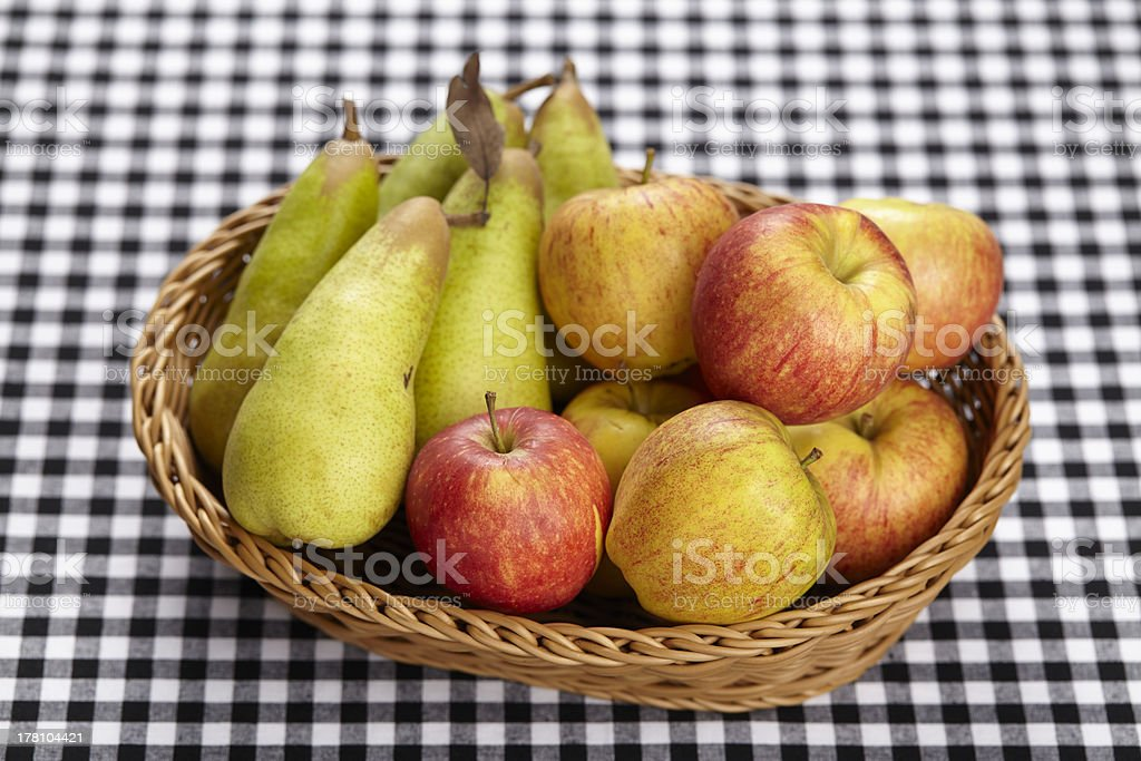 Basket of apples and pears royalty-free stock photo