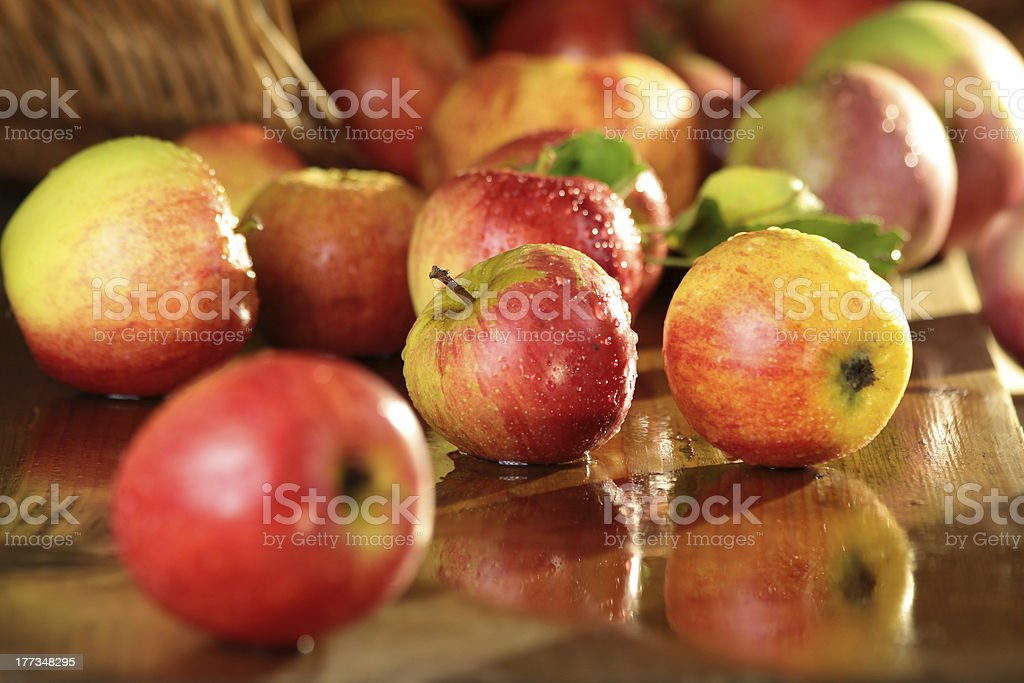 Basket of apples on a wet table stock photo