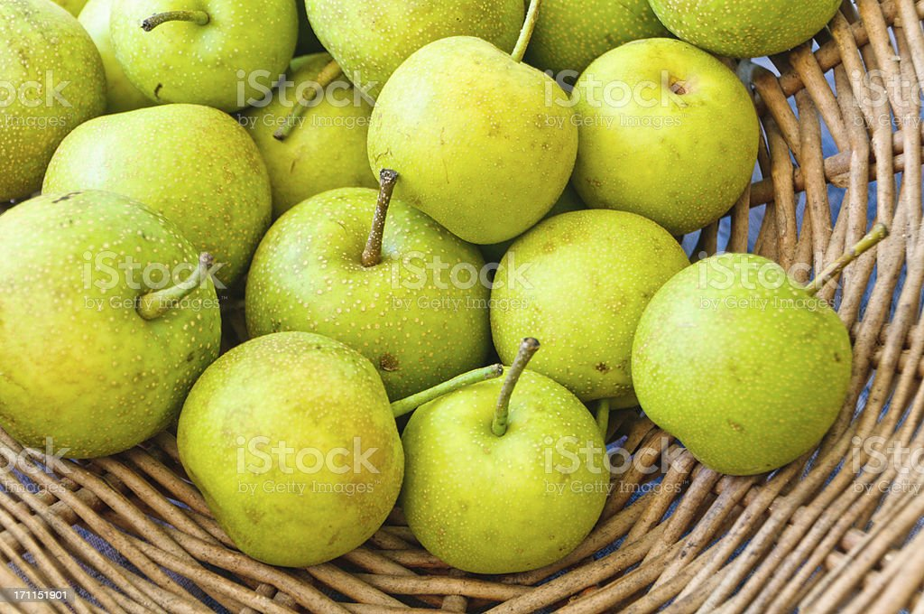 Basket of Asian Pears stock photo