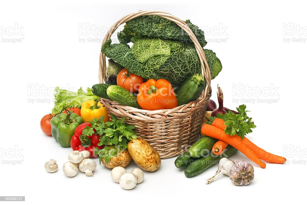 Basket of assorted fresh vegetables stock photo