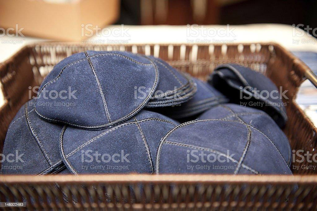Basket of Blue Yarmulkes stock photo