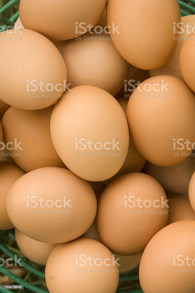 basket of brown eggs royalty-free stock photo