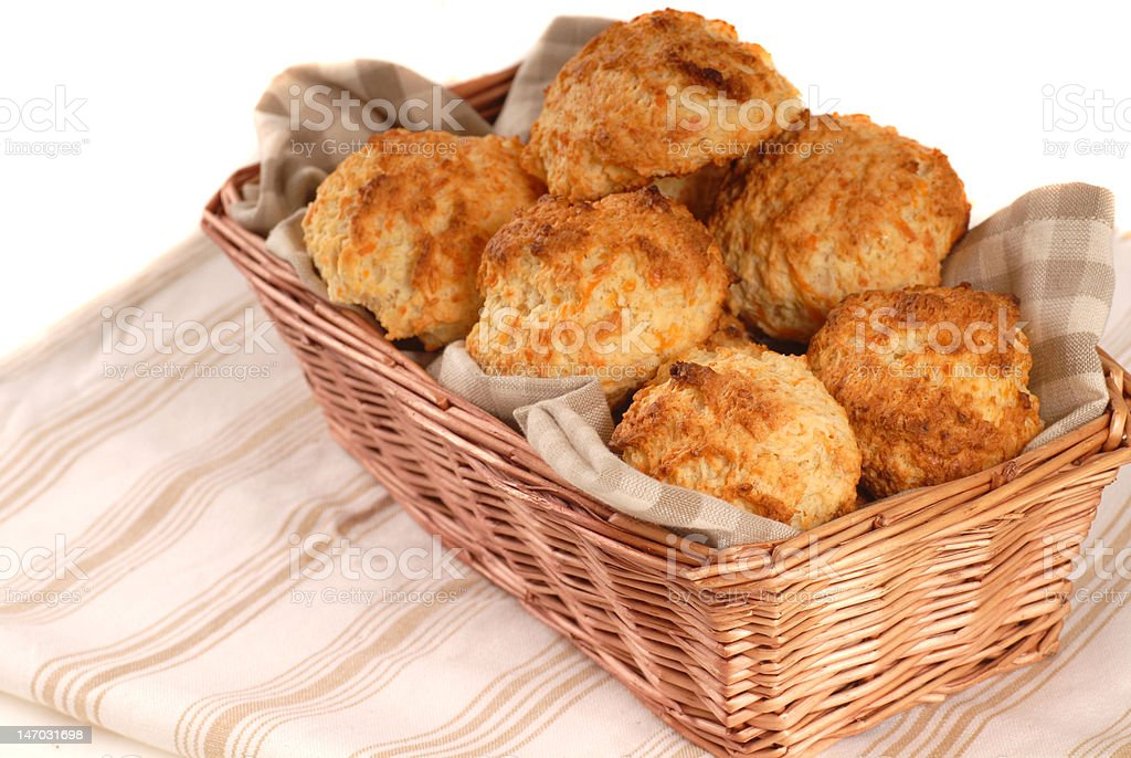Basket of cheddar cheese biscuits royalty-free stock photo