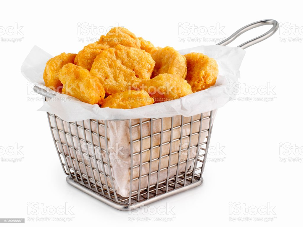 Basket of Chicken Nuggets stock photo