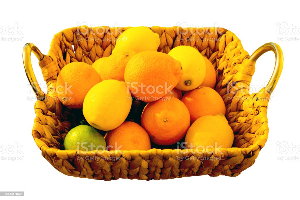 Basket of Citrus Fruits stock photo