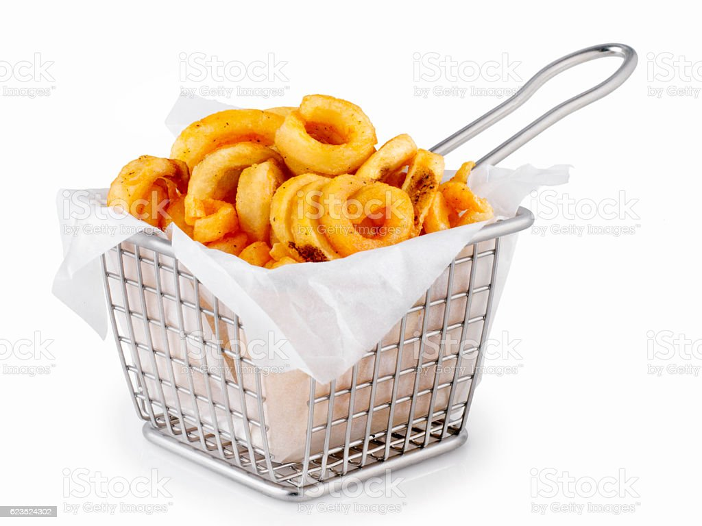 Basket of Curly French Fries stock photo