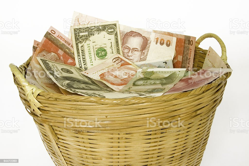 Basket of currencies royalty-free stock photo