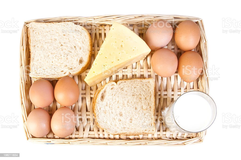 basket of dairy products over white royalty-free stock photo