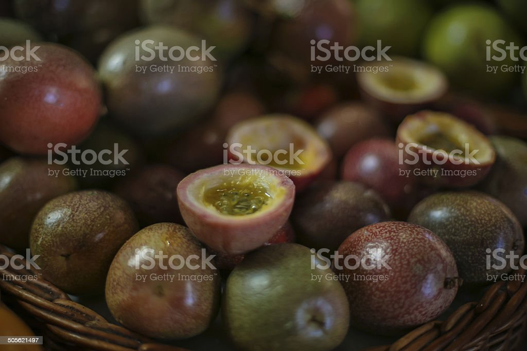 Basket of dark red Passion fruit royalty-free stock photo