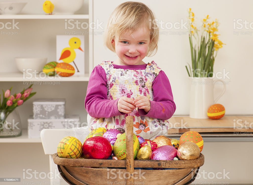 Basket Of Easter Eggs royalty-free stock photo