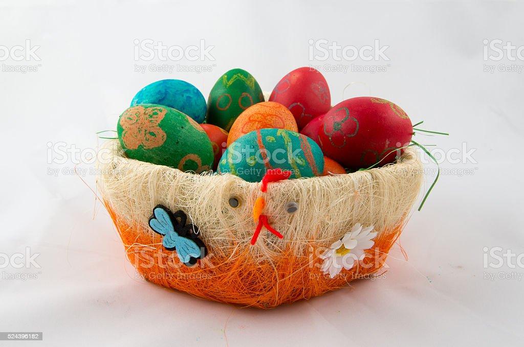 Basket of Easter eggs. stock photo