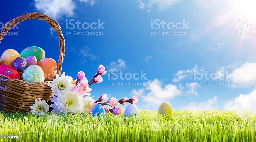 Basket of Easter Eggs With Spring Flowers stock photo
