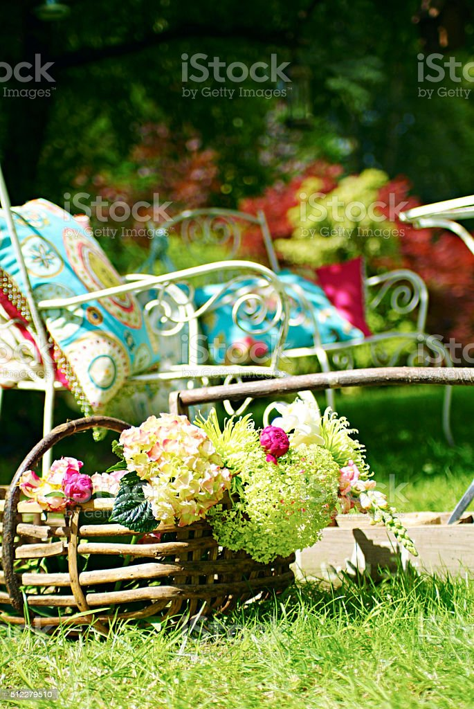 Basket of flowers outside stock photo