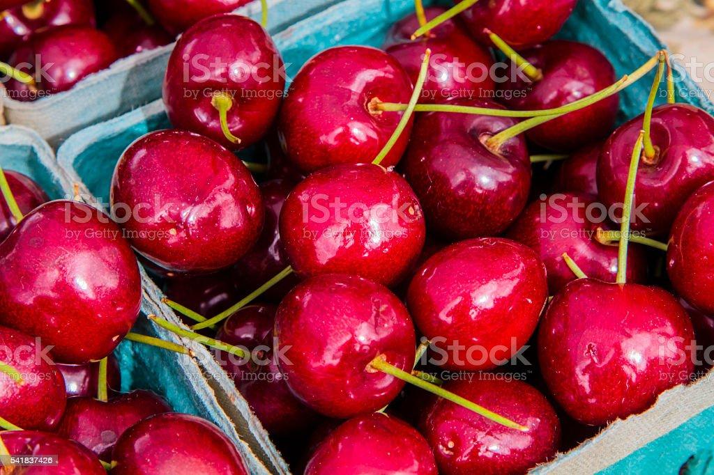 Basket of fresh bing cherries stock photo