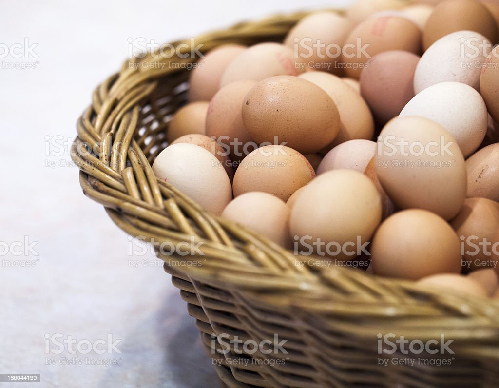 basket of fresh brown eggs from the farm royalty-free stock photo