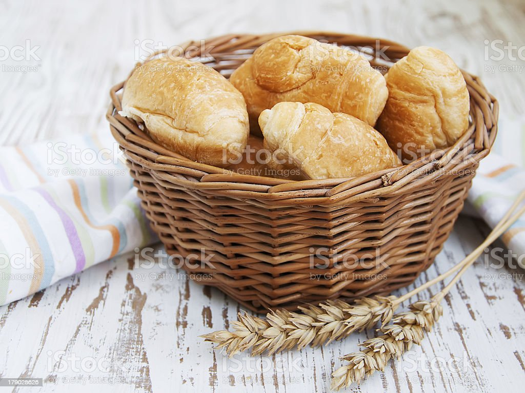 basket of fresh croissant royalty-free stock photo