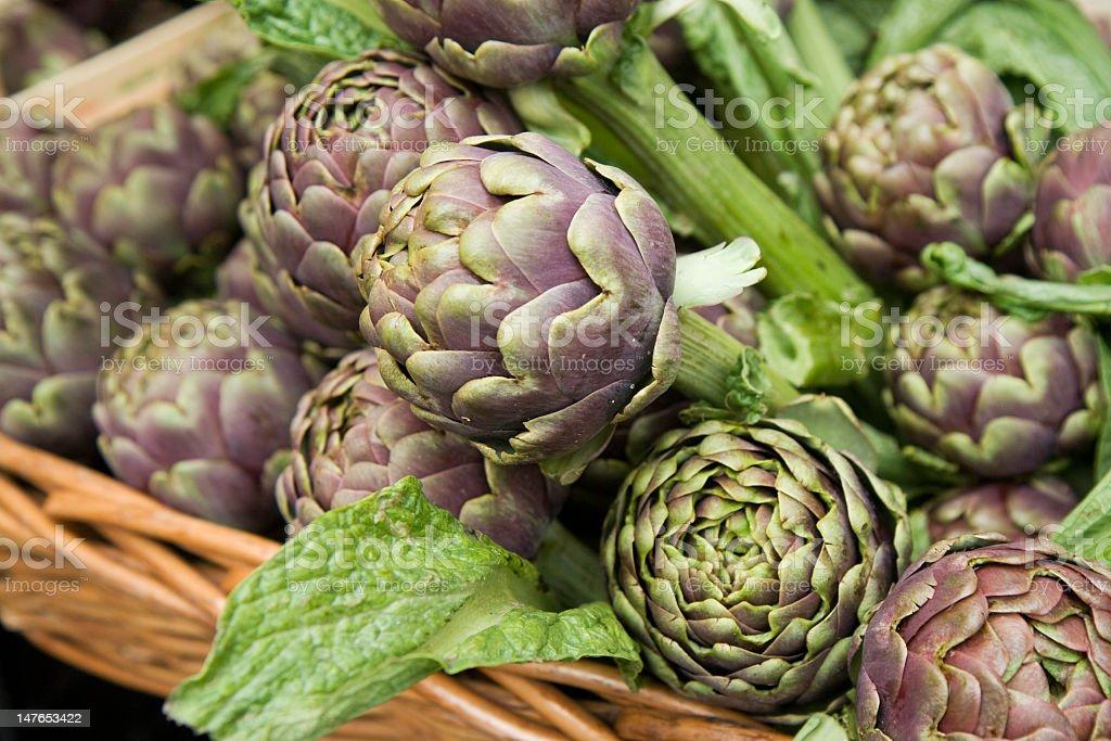 A basket of fresh cut artichokes royalty-free stock photo