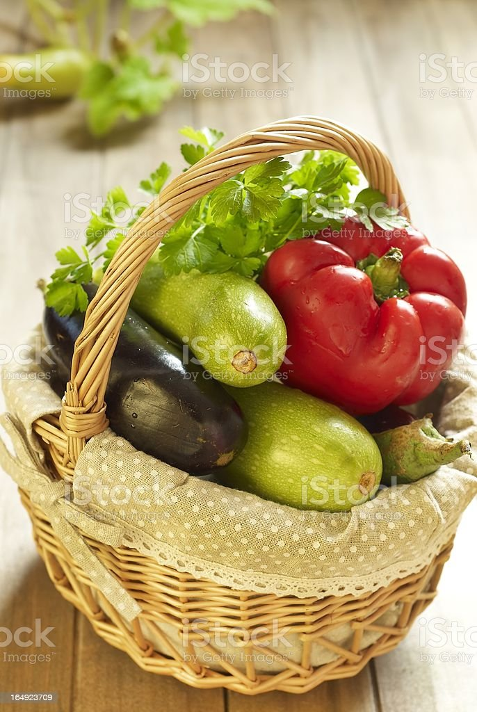 Basket of fresh vegetables royalty-free stock photo