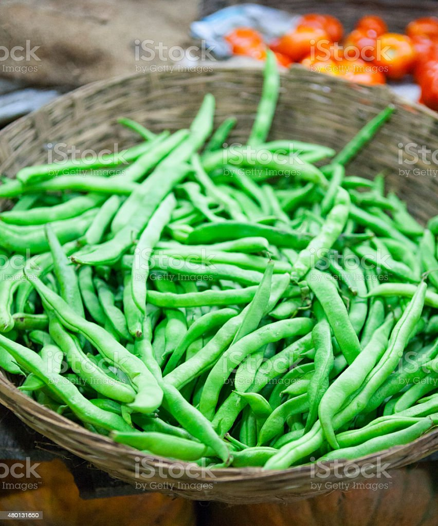 Basket of Green Beans stock photo