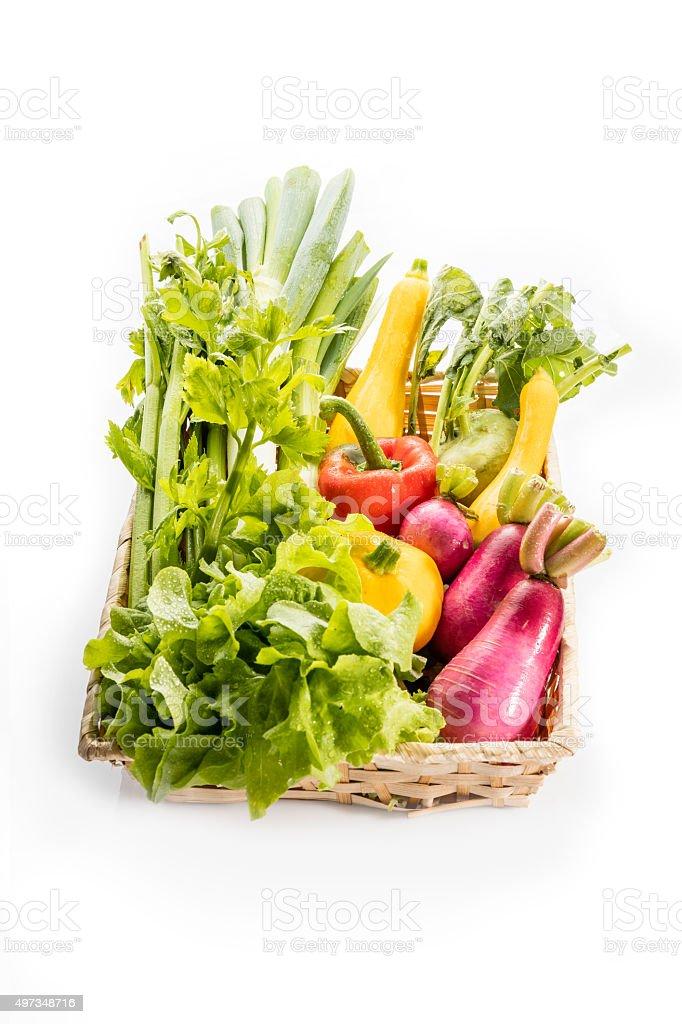 Korb mit grünen vagetable Lizenzfreies stock-foto