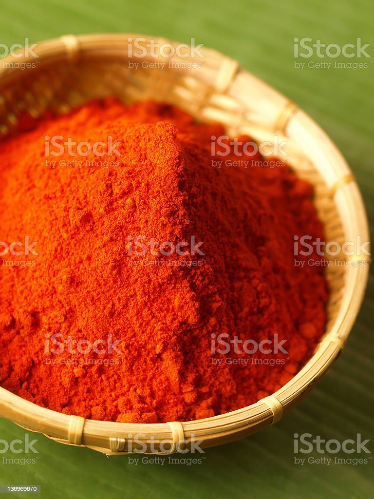 basket of grounded red chilli royalty-free stock photo