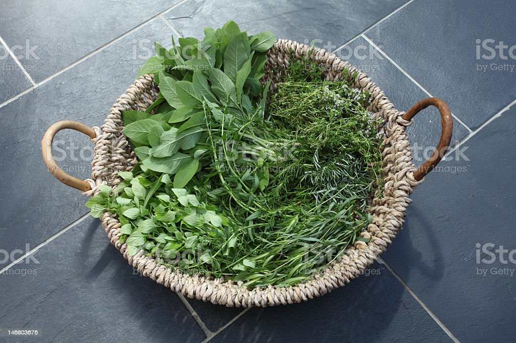 Basket of herbs royalty-free stock photo