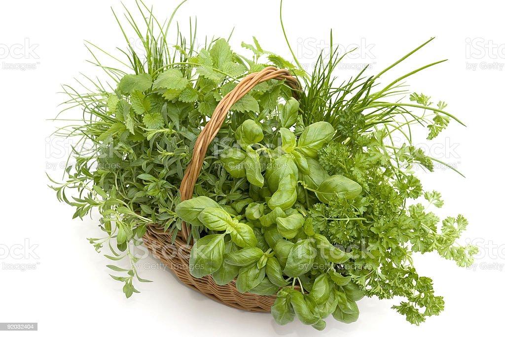 Basket of Herbs stock photo