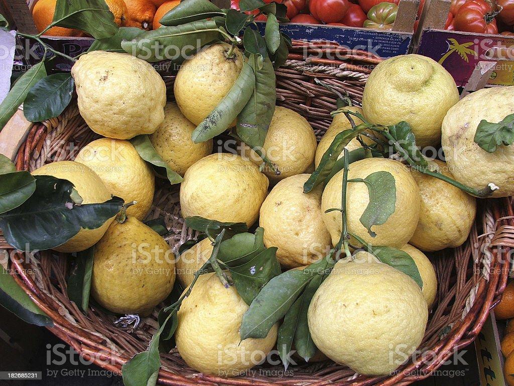 Basket of lemon stock photo