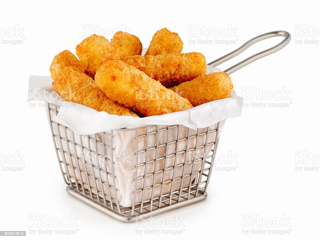 Basket of Mozzarella Cheese Sticks stock photo