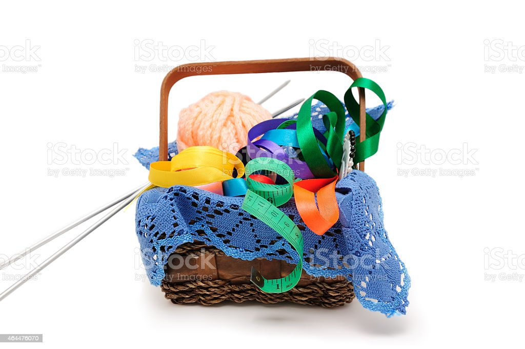 Basket of needlework stock photo