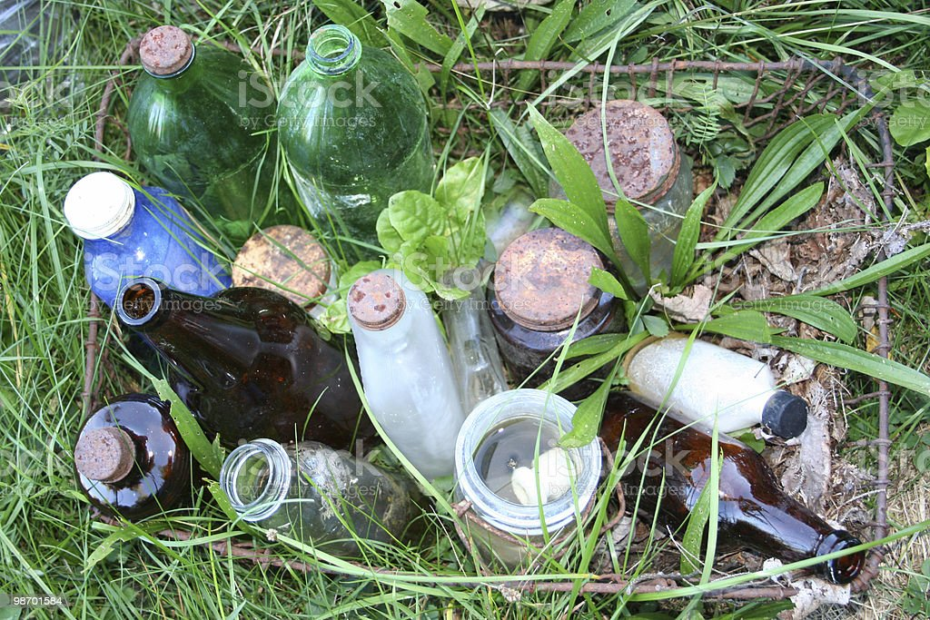 Basket of old bottles & jars royalty-free stock photo