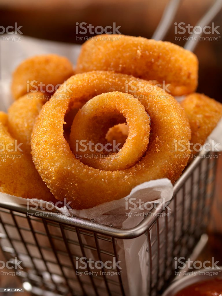 Basket of Onion Rings stock photo