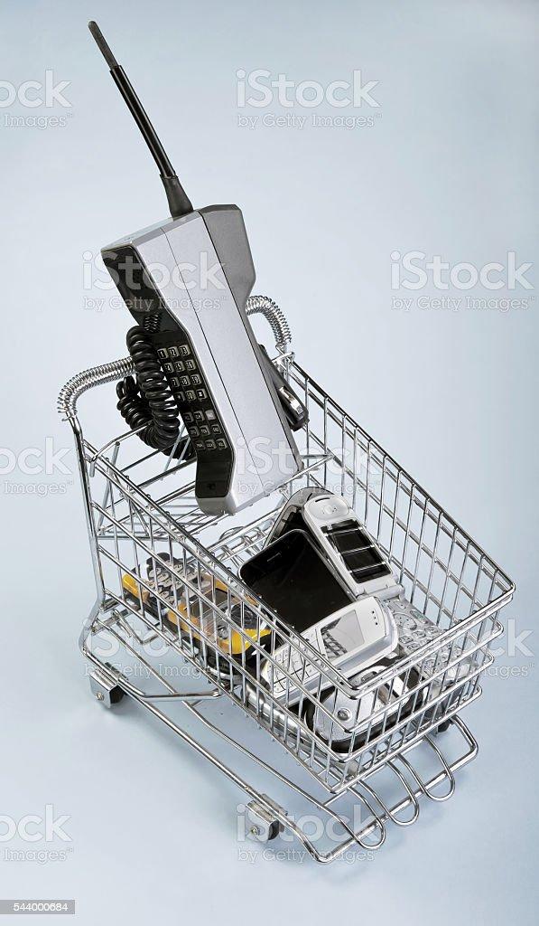 Basket of Phones. stock photo