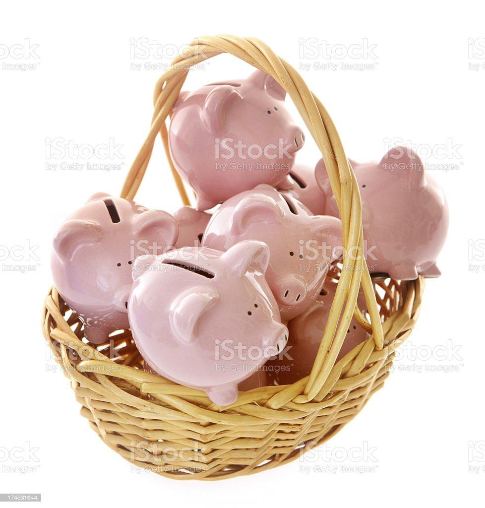 Basket of Piggybanks royalty-free stock photo