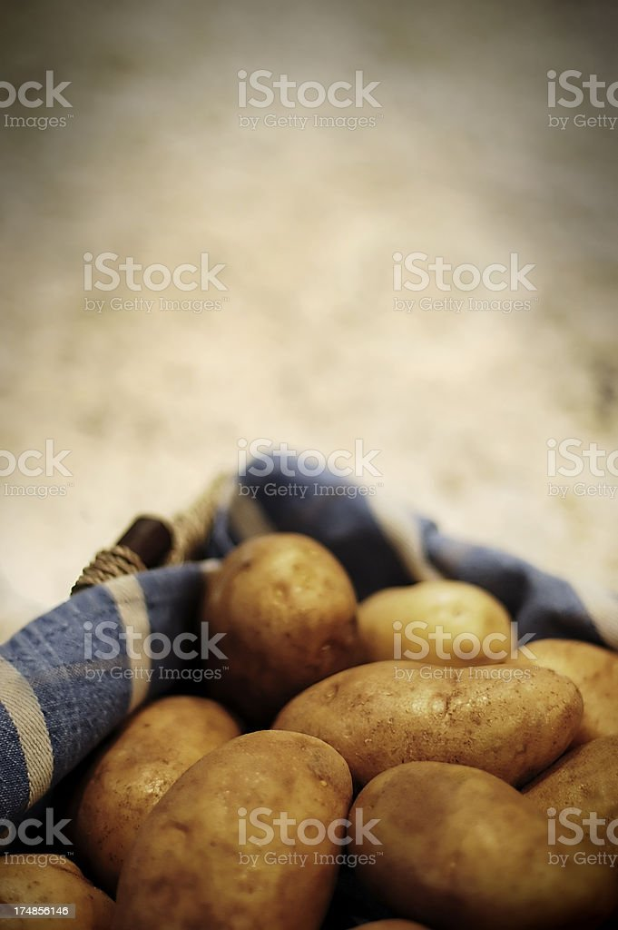 Basket of potatoes stock photo
