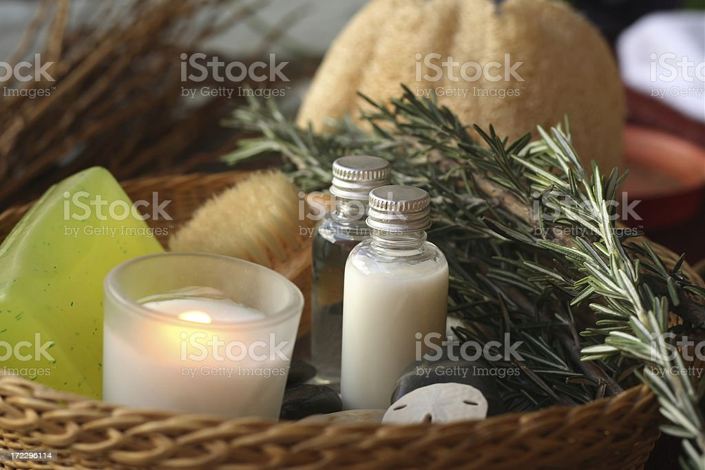 basket of spa products with rosemary royalty-free stock photo