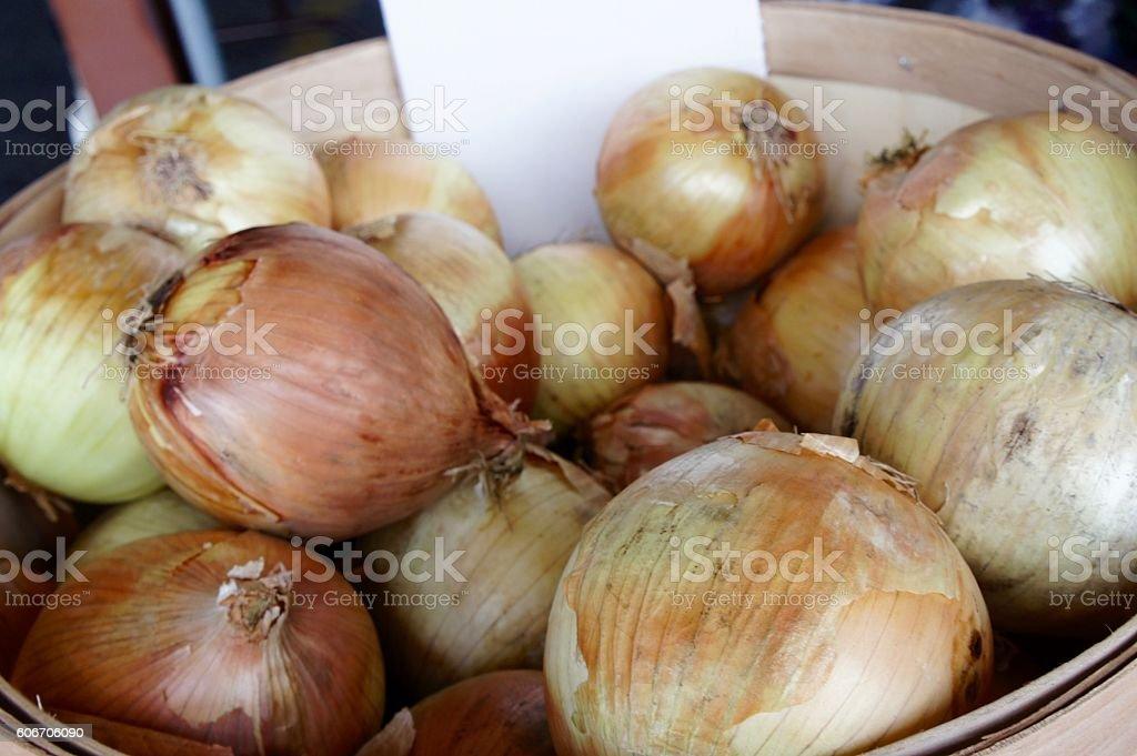 Basket of Sweet Onions stock photo