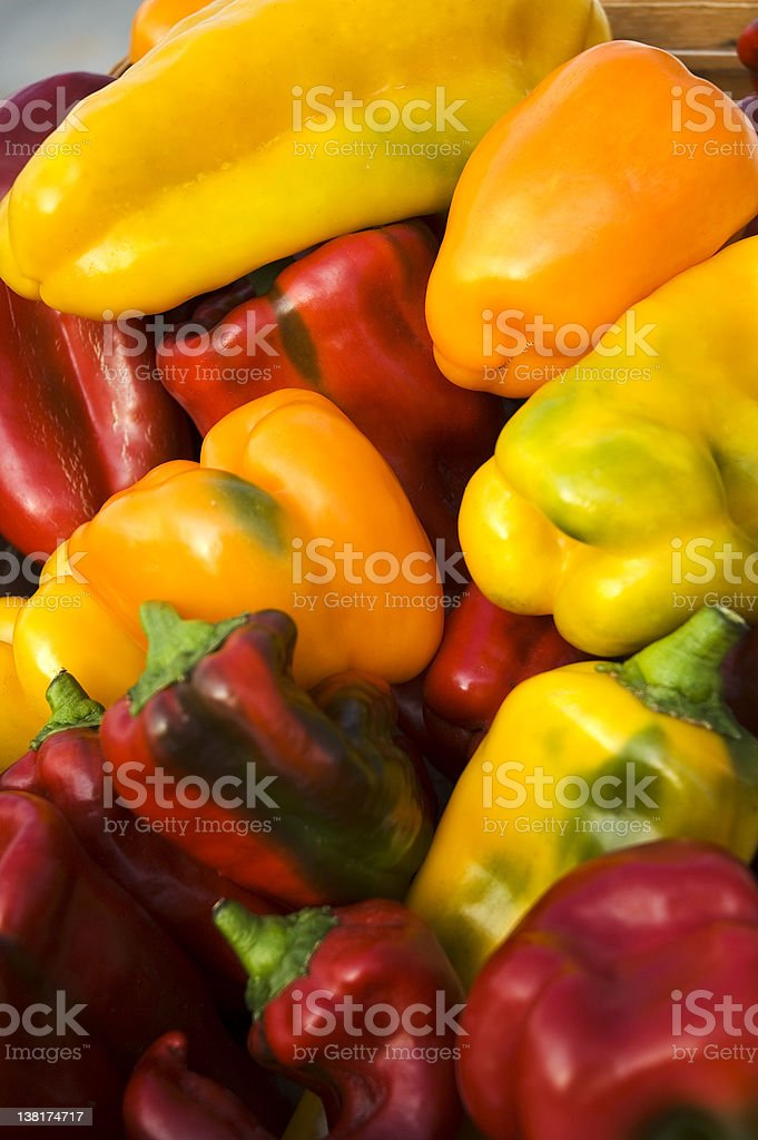 Basket of Sweet Peppers royalty-free stock photo