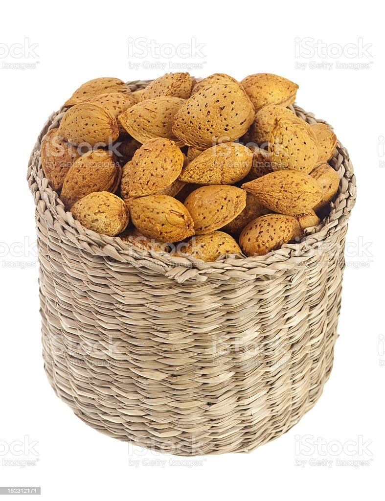 Basket of unshelled almonds royalty-free stock photo