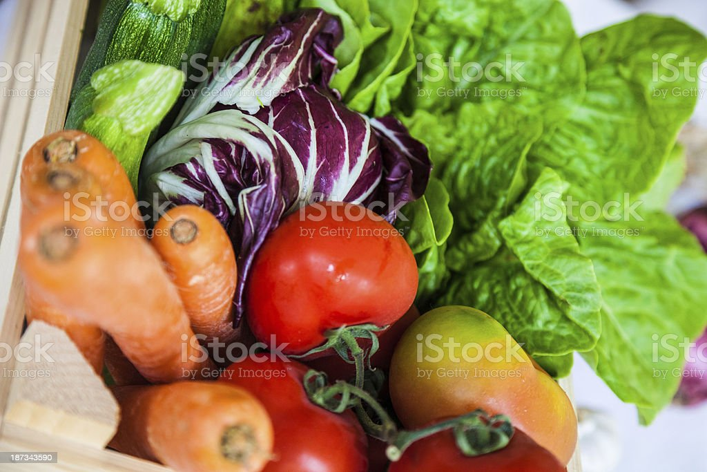 Basket of vegetables and salads royalty-free stock photo