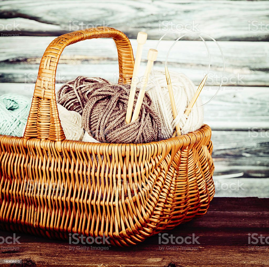 Basket of Yarn and Knitting Needles stock photo