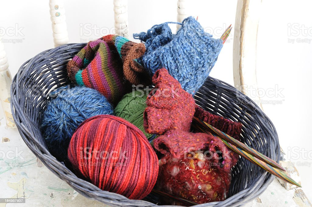 Basket of Yarn Balls and Knitting Projects royalty-free stock photo