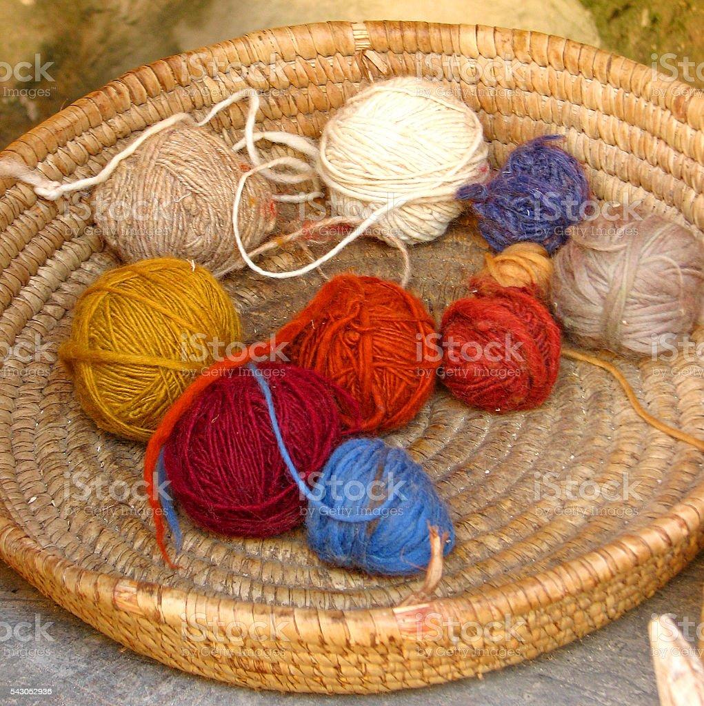 Basket of Yarn stock photo