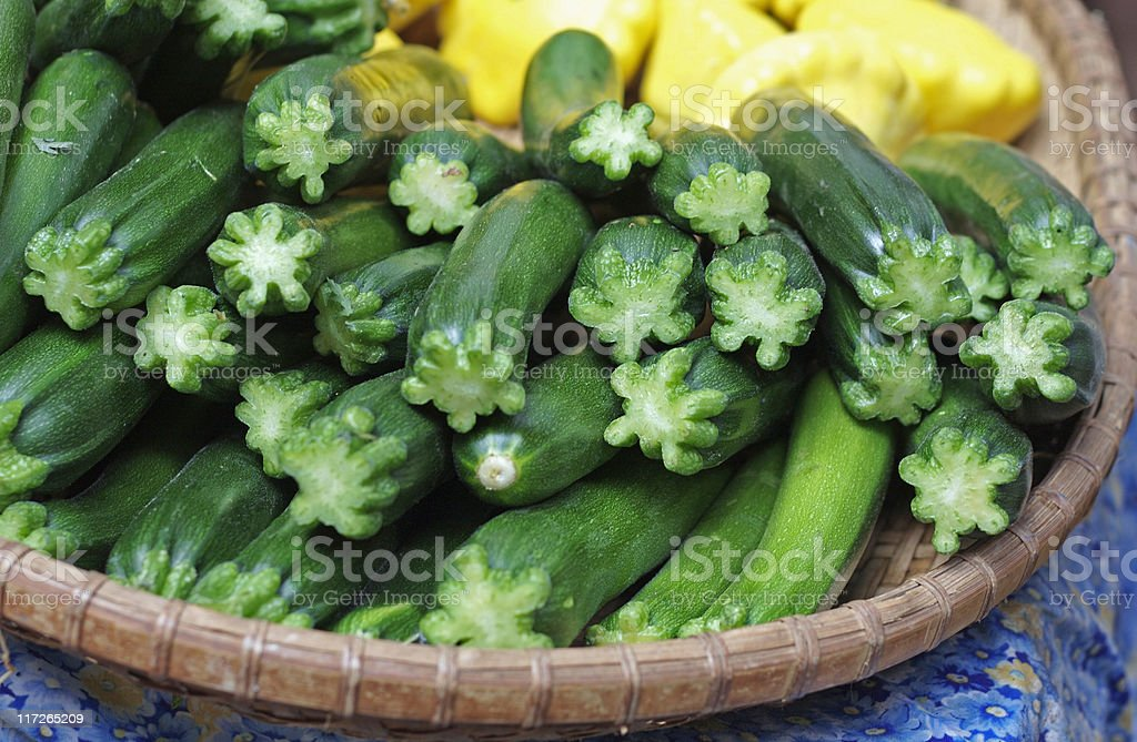 Basket of zucchini at the farmer's market royalty-free stock photo