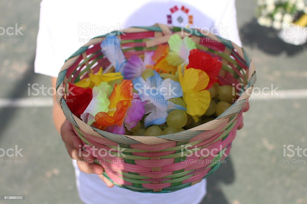 Basket Shavuot stock photo