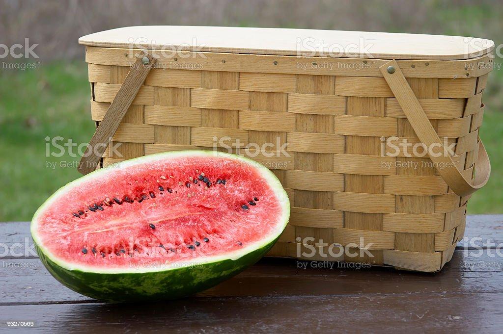 Basket & Watermelon royalty-free stock photo