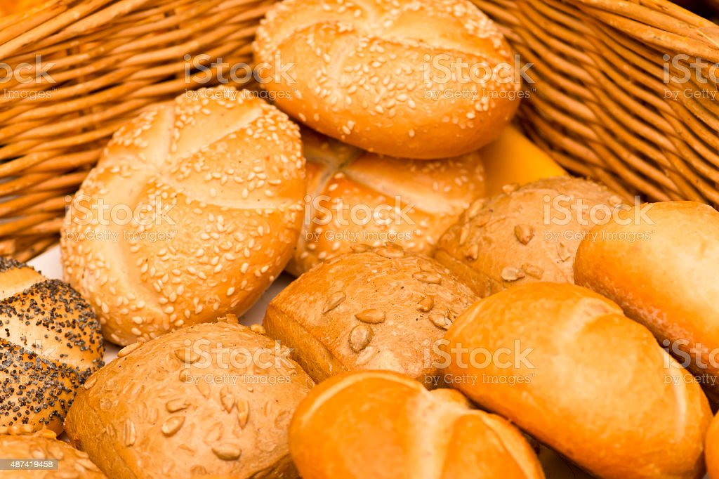 Basket with a variation of buns stock photo