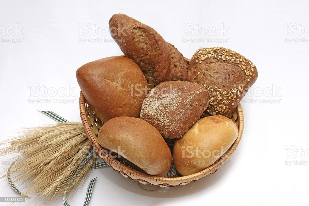Basket with a varieties of rolls stock photo