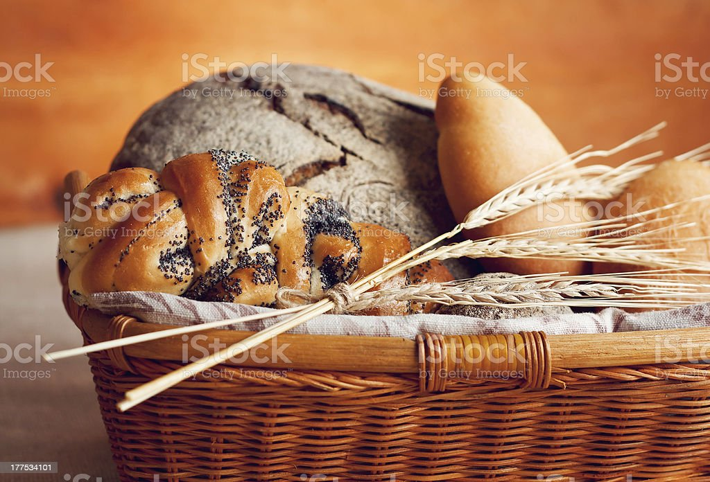 Basket with bread royalty-free stock photo